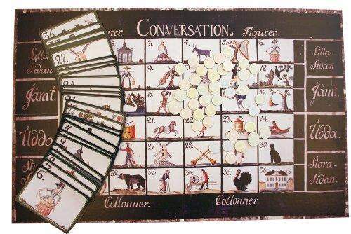 Biribi -pelin lauta, kortit ja pelimerkit