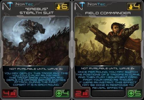 Kaksi esimerkkejä sankarikorteista.