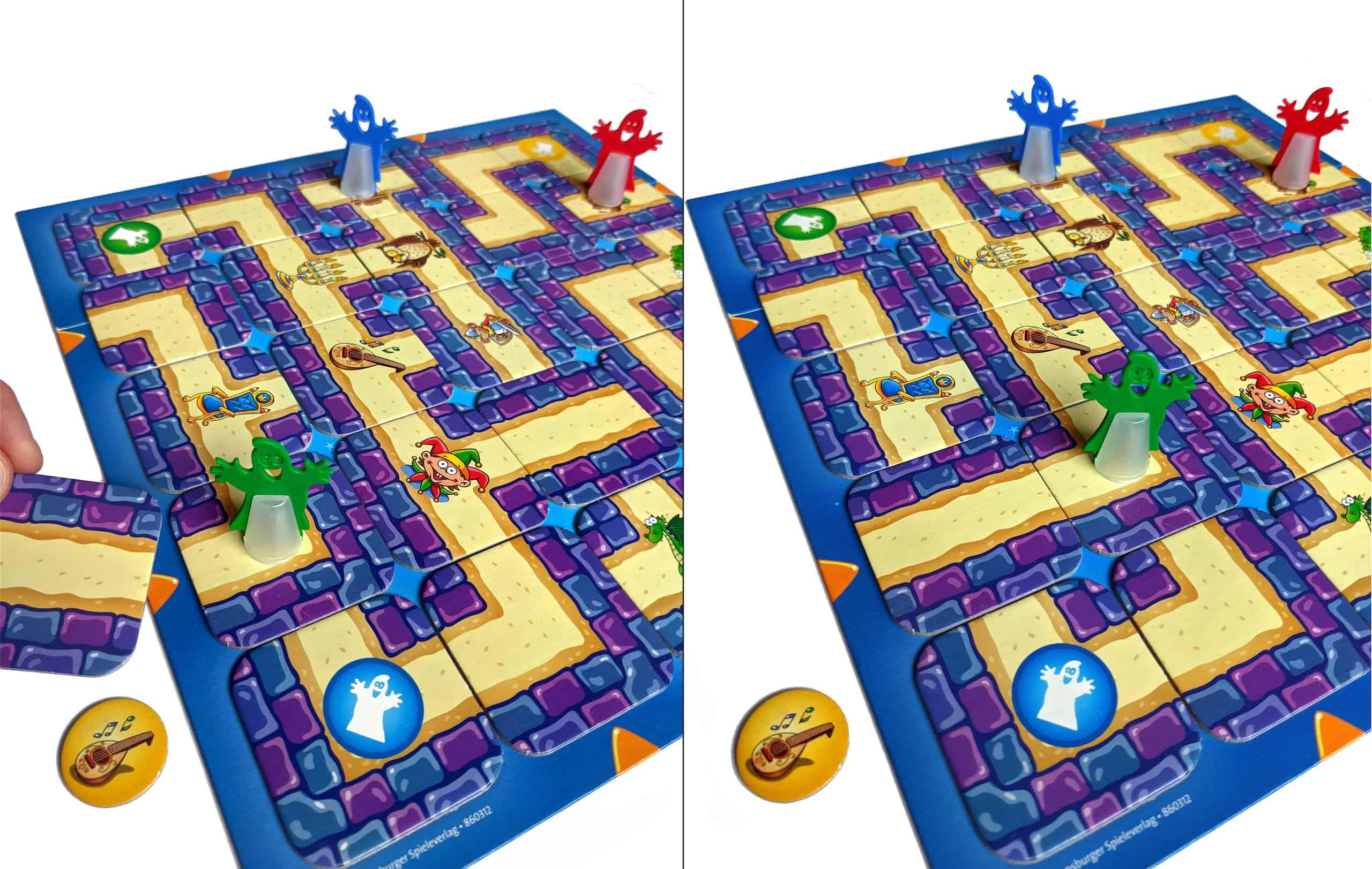 Junior Labyrinth ja siirto, jolla pelaaja pääsee aarteen luokse