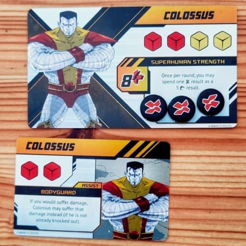 Colossus-hahmon varsinainen kortti ja avustuskortti