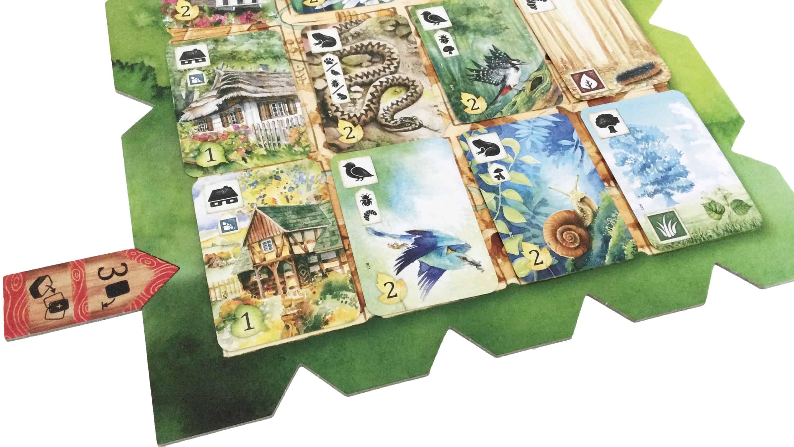 Lähikuva pelilaudasta, josta pelaaja valitsee kolmosmerkillä kolmannen kortin eli etanan.