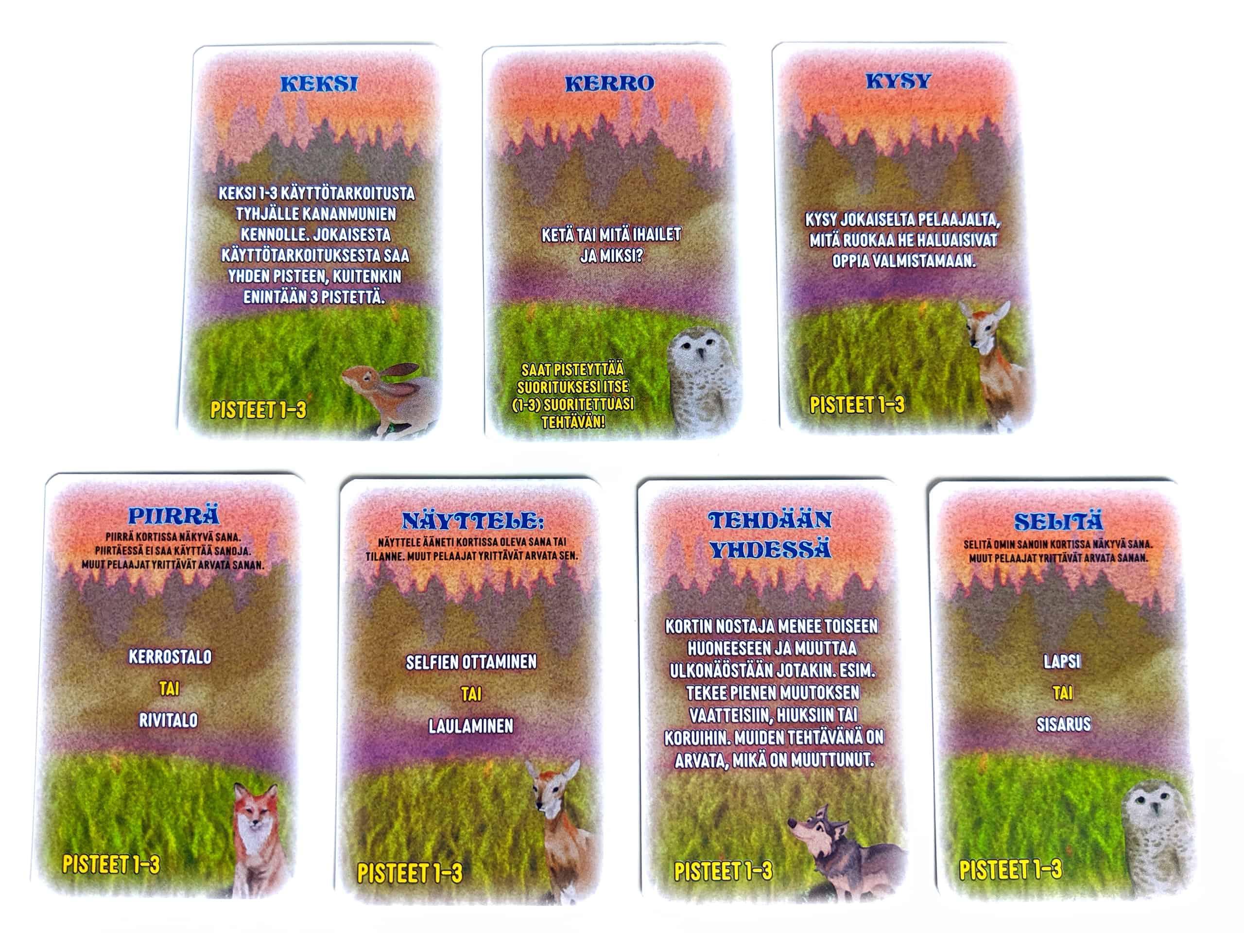 Meidän sakin seitsemän eri tehtäväkorttien kategoriaa