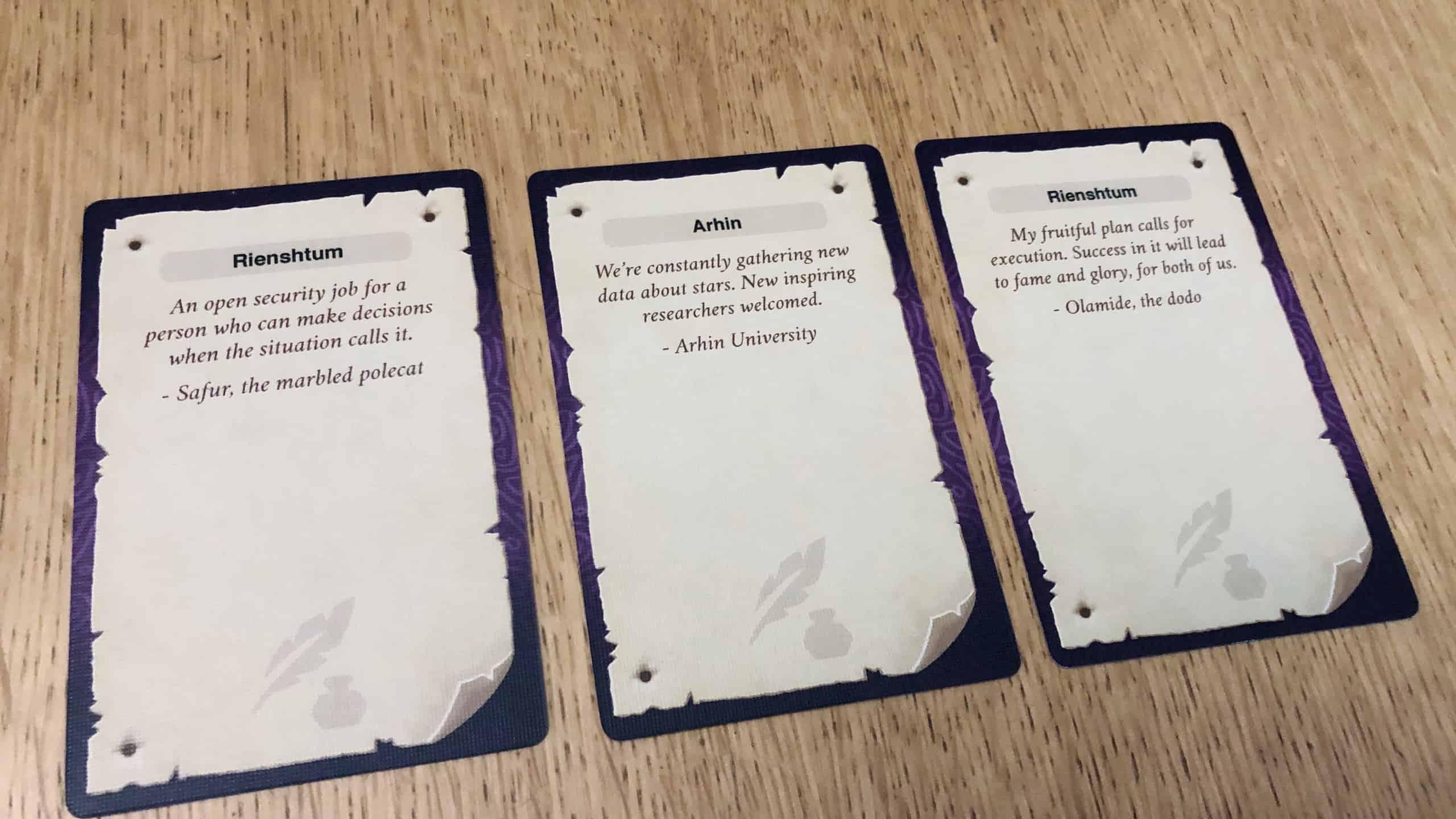 Kolme tehtäväkorttia