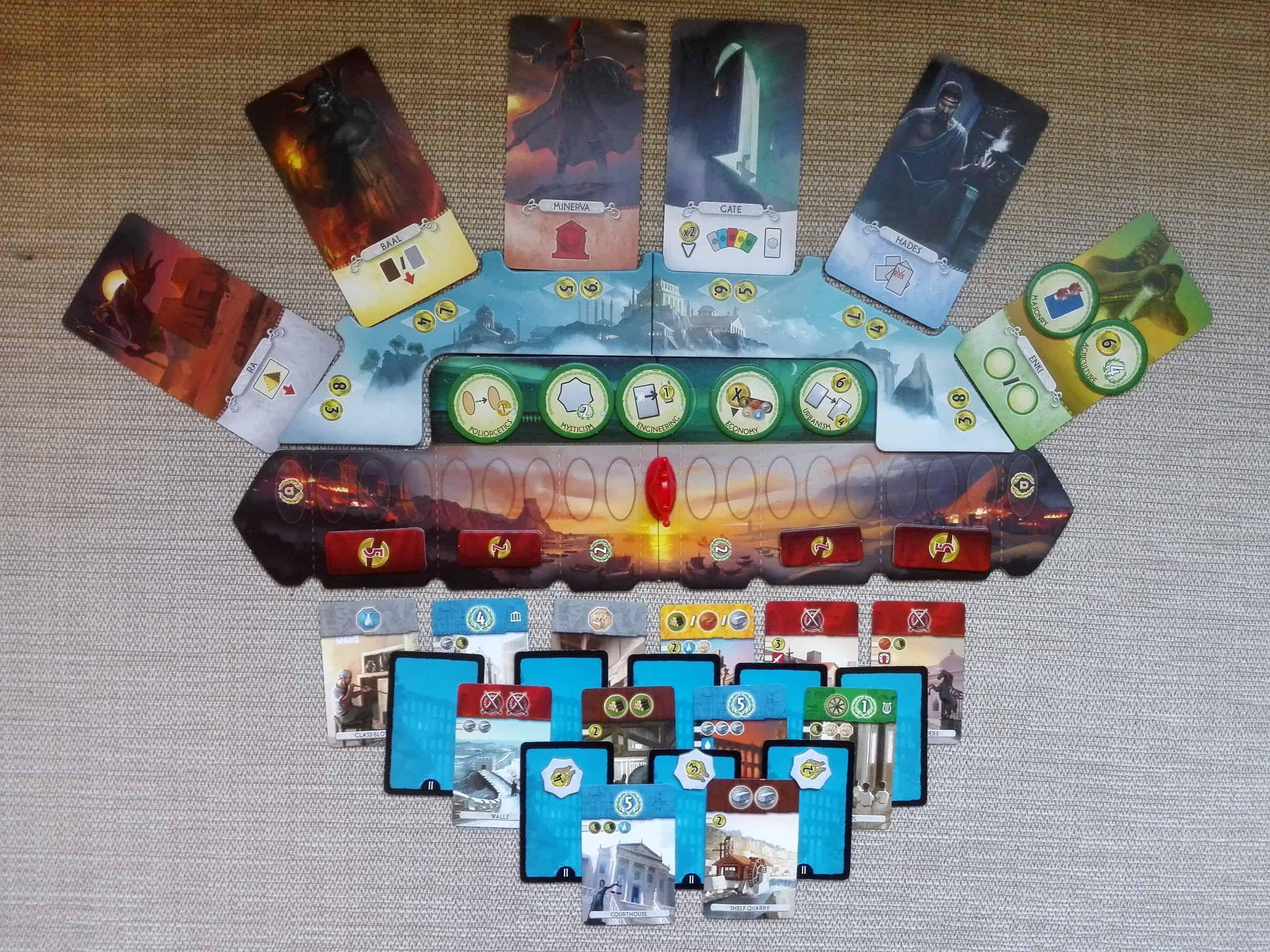 7 Wonders Duel: Pantheon kakkoskierroksen alussa