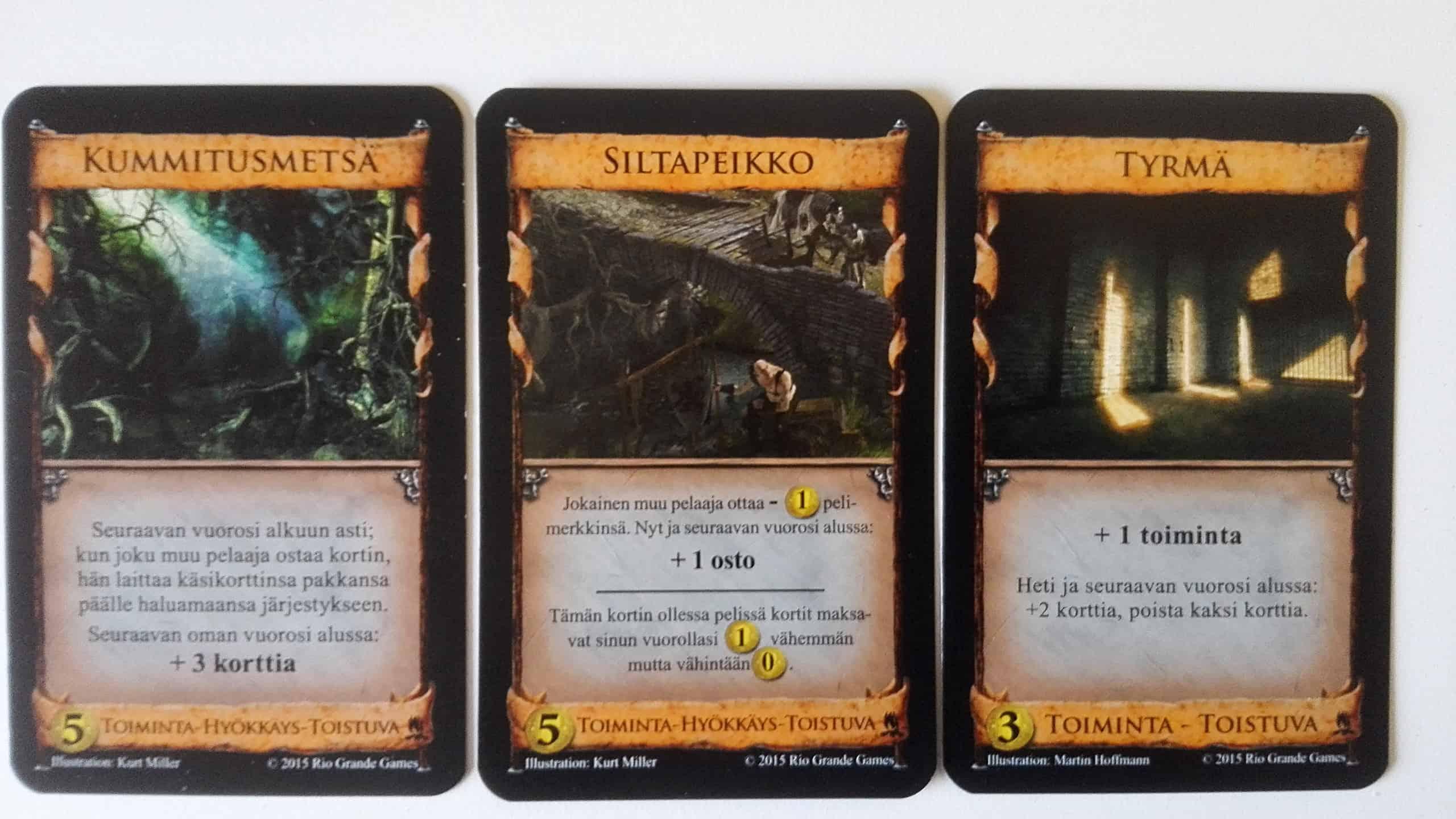 Kolme toistuvaa korttia: Kummitusmetsä, Siltapeikko ja Tyrmä