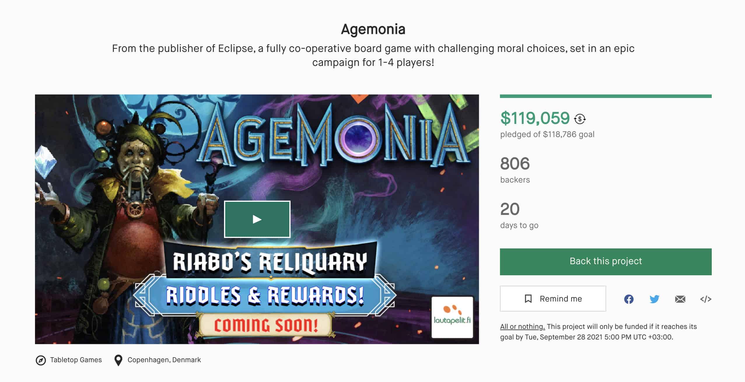 Agemonian Kickstarter-kampanjasivu
