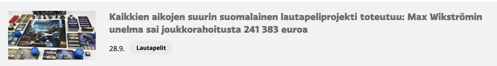 YLEn Agemonia-uutisotsikko